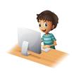 A boy playing computer vector image vector image