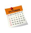 2014 calendar for October vector image