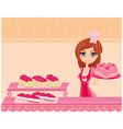 beautiful saleswoman in a bakery vector image