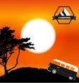 Cartoon Minibus in Nature a Tree Silhouette vector image