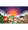 Children in camping outfi by the volcano vector image