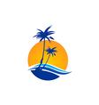 palm tree beach tropic travel logo vector image