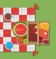 picnic basket food red and white blanket top view vector image