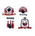 Sporting bowling emblems and symbols vector image