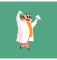 Funny Scientist In Lab Coat Walking With Two Test vector image