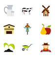 farm icons set flat style vector image