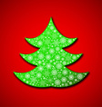 Christmas paper tree made of random snowflakes vector image