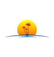 palm tree sunset tropic travel logo vector image