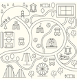 Park map in outline design style vector image