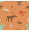 Seamless orange background deer and flowers vector image
