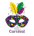 Bright carnival icons mask and sign Time to vector image