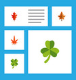 flat icon maple set of frond leafage aspen and vector image