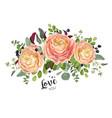 floral card design garden peach rose ranunculus vector image