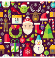 Merry Christmas Flat Design Brown Seamless Pattern vector image
