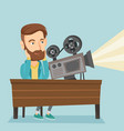 caucasian projectionist showing new film vector image vector image