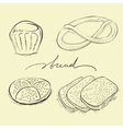 bread cake and pretzel vector image vector image