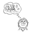 cartoon of boy dreaming about adventure and vector image