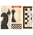 chess board and chessmen strategy cards vector image