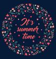 floral frame on black its summer time vector image