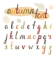 Hand-drawn autumn font vector image