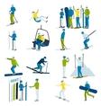 Ski Resort People Icons Set vector image