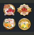 set of organic fruit golden labels vector image