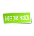 under construction square sticker on white vector image