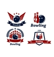 Bowling themed emblems and icons vector image vector image
