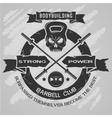 Bodybuilding emblem in vintage style vector image vector image