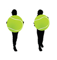children with tennis ball silhouette vector image