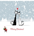 Christmas card with santa and cats couple vector image
