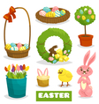 Easter cartoon isolated object icon set on white vector image