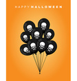 Happy Halloween Black balloon with skull and bones vector image