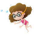 little girl diving underwater vector image