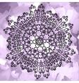 Ornamental mandala print on violet watercolor vector image