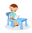 Young boy with glasses reads sitting at a school vector image