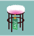 pouf furniture isolated on softly turquoise vector image