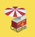 trolley for hot dogs isometric vector image