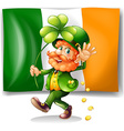 Leprechaun and Irish flag vector image vector image