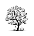 Art tree with mugs and cups Sketch for your vector image