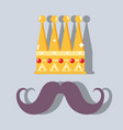 crown and mustache to man use in special day vector image