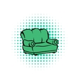 Green sofa comics icon vector image