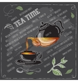 Green Tea Time card with cup teapot and spoon vector image