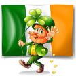 Leprechaun and Irish flag vector image