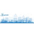 Outline Havana Skyline with Blue Buildings vector image