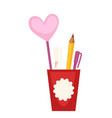 plastic cup with pens vector image