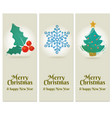 set of 3 merry christmas and happy new year vector image