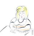 woman writing to paper vector image