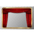 Retro golden frame with red curtain vector image