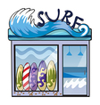 A surf accessories store vector image